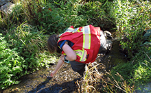 CRD staff conducting water quality monitoring in Bowker Creek
